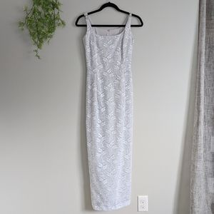 (Bari-Jay) White Sequin Floral Gown Prom Bride
